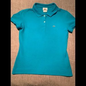 Lacoste fitted teal polo shirt